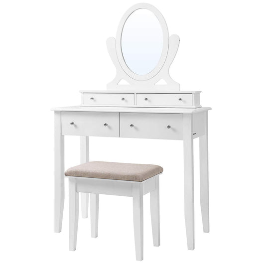 Discover songmics vanity table set with mirror and 4 drawers wooden makeup dressing table with large stool gift for women girls white urdt22wt