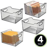 Best seller  mdesign deep plastic office storage bin container desk and drawer organizer tote with handles for organizing gel pens erasers tape pencils highlighters markers 10 long 4 pack smoke gray
