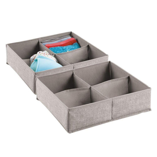 Buy now mdesign soft fabric dresser drawer and closet storage organizer bin for lingerie bras socks leggings clothes purses scarves divided 4 section tray textured print 2 pack linen tan