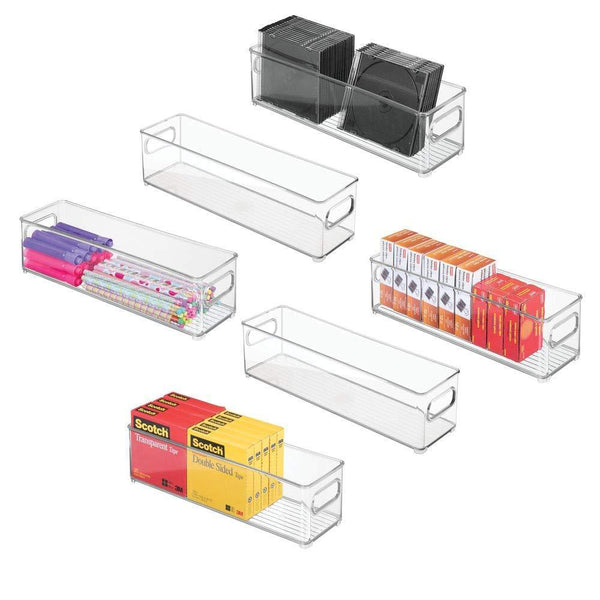 Explore mdesign stackable plastic storage bin container desk and drawer organizer tote with handles for storing gel pens erasers tape pens pencils highlighters markers 14 5 long 6 pack clear