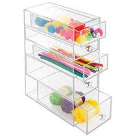 Budget idesign clarity plastic cosmetic 5 drawer jewelry countertop organization for vanity bathroom bedroom desk office 3 5 x 7 x 10 clear