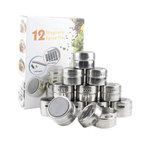 12 Stainless Steel Magnetic Spice Tin & 2 Types of Spice Labels by Neverless, with 96 PVC & 54 Chalkboard Stickers. Refrigerator Magnet