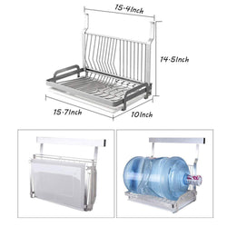 Ctystallove Foldable Stainless Steel Dish Drying Rack with Drainboard Wall Mounted Metal Mesh Storage Organizer Holder