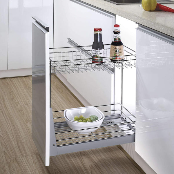 "17.3x11.8x20.7"" Cabinet Pull-Out Chrome Wire Basket Organizer 2-Tier Cabinet Spice Rack Shelves Bowl Pan Pots Holder Full Pullout Set"