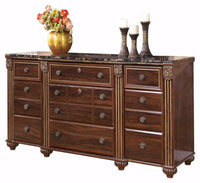 Discover ashley furniture signature design gabriela dresser 9 drawers traditional replicated mahogany grain dark reddish brown