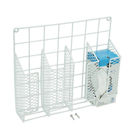 Explore decorrack cabinet door mount kitchen storage organizer basket wrap organizer rack space saving drawer grid holder for cleaning supplies bottles steel with white plastic coating 2 pack