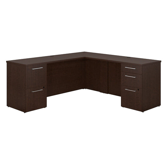 Products bush business furniture 300 series 72w x 22d l shaped mocha cherry office desk with 2 and 3 drawer pedestals and 48w return