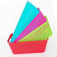 Top rated small colorful plastic baskets rectangle tray pantry organization and storage kitchen cabinet spice rack food shelf organizer organizing for desks drawers weave deep closets lockers
