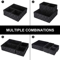 Discover the best kedsum woven storage box cube basket bin container tote cube organizer divider for drawer closet shelf dresser set of 4 black