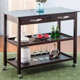 Organize with lz leisure zone rolling kitchen island serving cart wood trolley w countertop 2 drawers 2 shelves and lockable wheels dark brown