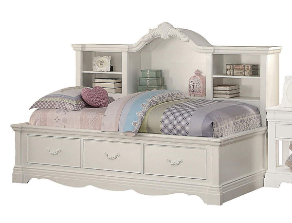 New major q 84 x 55 x 59h classic traditional style white finish twin size daybed with storage bookcase back panel and drawers 9039150