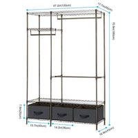 Kitchen lifewit full metal closet organizer wardrobe closet portable closet shelves with adjustable legs non woven fabric clothes cover and 3 drawers sturdy and durable large size