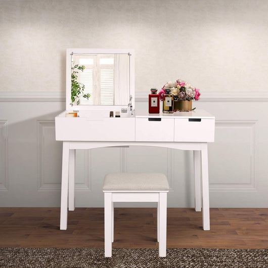 Products vanity beauty station dresing table vanity set with flip top mirror 1 large organization 2 drawers makeup dresser writing desk white flip mirror
