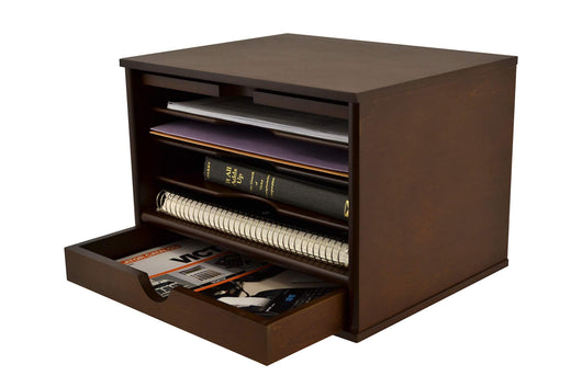 Exclusive victor heritage collection wood grain desk organizer natural wood grain with stain finish four filing storage slots and bottom pull open drawer professional rustic design h4720