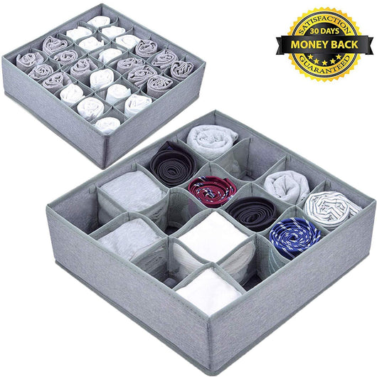 Best seller  yomfun socks organizers underwear drawer organizer foldable cloth dresser organizer for socks ties underwear tank tops baby t shirt shorts belts small stuff set of 2 gray