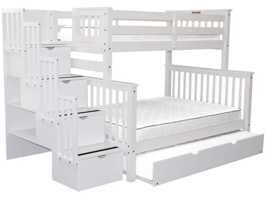 Best seller  bedz king stairway bunk beds twin over full with 4 drawers in the steps and a twin trundle white