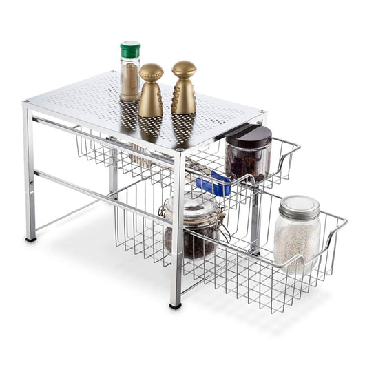 Kitchen bextsware under sink cabinet organizer with 2 tier wire grid sliding drawer multi function stackable mesh storage organizer for kitchen counter desktop bathroomchrome