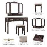 Best seller  youke vanity set tri folding necklace hooked mirror 7 drawers makeup dressing table with cushioned stool easy assemblebrown