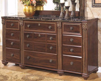 Discover the best ashley furniture signature design gabriela dresser 9 drawers traditional replicated mahogany grain dark reddish brown