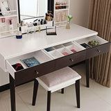 Storage organizer bewishome vanity set with mirror cushioned stool storage shelves makeup organizer 3 drawers white makeup vanity desk dressing table fst05w