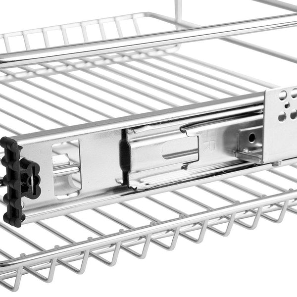 EvergoHome Roll Out Kitchen Cabinet Organizer- Adjustable Chrome Pull Out Cabinet Organizer - Heavy Duty Side Mount Single Sliding Shelf -Suitable for 20 Inches Wide Kitchen Cabinet (External)