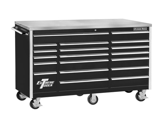 Organize with extreme tools ex7218rcbk 18 drawer triple bank roller cabinet in ball bearing slides 72 inch black high gloss powder coat finish