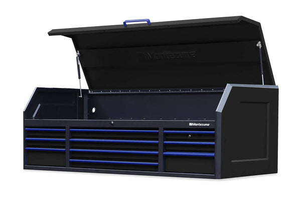 Budget friendly montezuma tool box 72 x 30 10 drawer tool chest with multiple power outlets black powder coat finish m723010ch