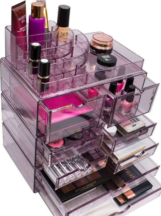 Heavy duty sorbus acrylic cosmetics makeup and jewelry storage case x large display sets interlocking scoop drawers to create your own specially designed makeup counter stackable and interchangeable purple 1