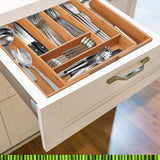 Save on non slip extra deep expandable large silverware organizer bamboo flatware drawer organizer cutlery tray utensil holder adjustable drawer organizers kitchen drawer dividers by pristine bamboo