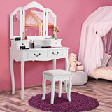 Budget friendly charmaid vanity set with tri folding mirror and 4 drawers makeup dressing table with cushioned stool makeup vanity set for women girls bedroom makeup table and stool set white