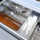 Cheap drawer insert cabinet cutlery tray storage catering utensils box stainless steel kitchen 6 compartments 47 228 46 2cm