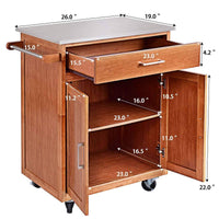 Amazon best giantex wood kitchen trolley cart rolling kitchen island cart with stainless steel top storage cabinet drawer and towel rack