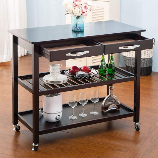 Kitchen lz leisure zone rolling kitchen island serving cart wood trolley w countertop 2 drawers 2 shelves and lockable wheels dark brown