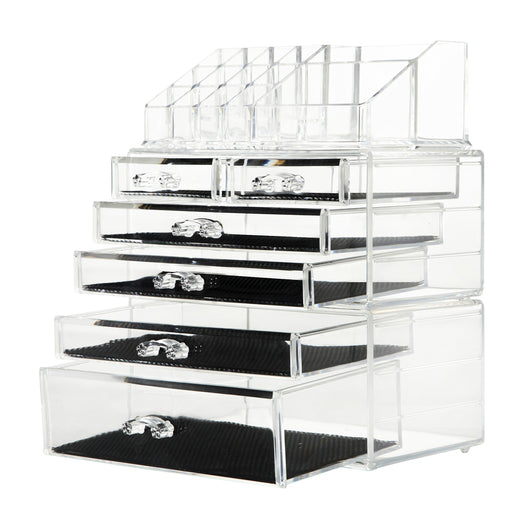 Shop finnhomy 3 tier acrylic makeup cosmetic jewelry diamond organizer 3 piece set counter storage case large display drawer box bathroom vanity case for lipstick brush nail polish clear