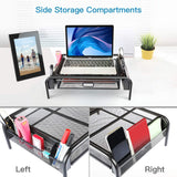 Great monitor stand riser mesh metal printer stand holder with pull out storage drawer and side compartments pockets for computer laptop imac desk pens phones calculators by huanuo 2 pack black