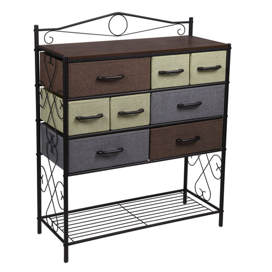 Amazon best household essentials victorian 8 drawer chest storage dresser or entryway table black