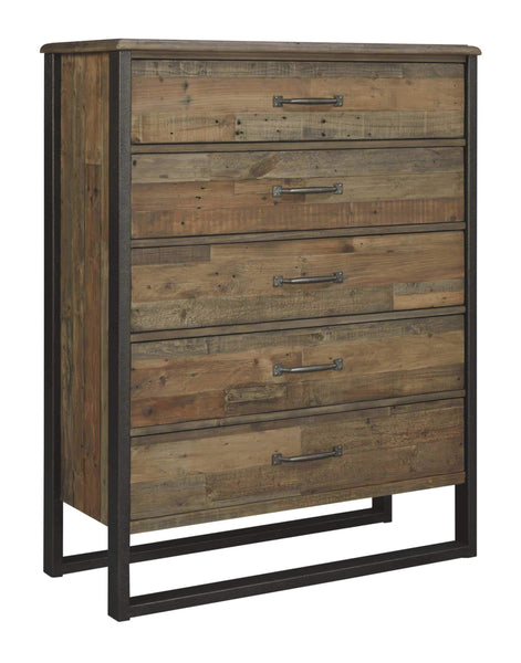 Results ashley furniture signature design sommerford chest casual 5 drawers light grayish brown finish reclaimed wood silver bronze hardware legs