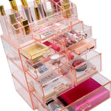 Results sorbus acrylic cosmetics makeup and jewelry storage case display sets interlocking drawers to create your own specially designed makeup counter stackable and interchangeable pink 1