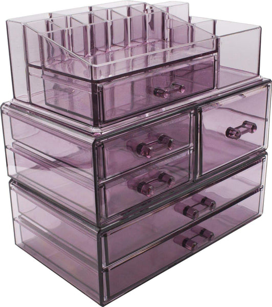 Selection sorbus cosmetics makeup and jewelry storage case display sets interlocking drawers to create your own specially designed makeup counter stackable and interchangeable purple