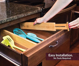 Great hossejoy bamboo drawer divider kitchen drawer organizer spring adjustable expendable drawer dividers best dividers for kitchen dresser bedroom baby drawer bathroom desk pack of 4