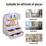 Home fazhen dust proof makeup organizer cosmetic and jewelry storage with dustproof lid display boxes with drawers for vanity skin care products rack dressing table desktop finishing box