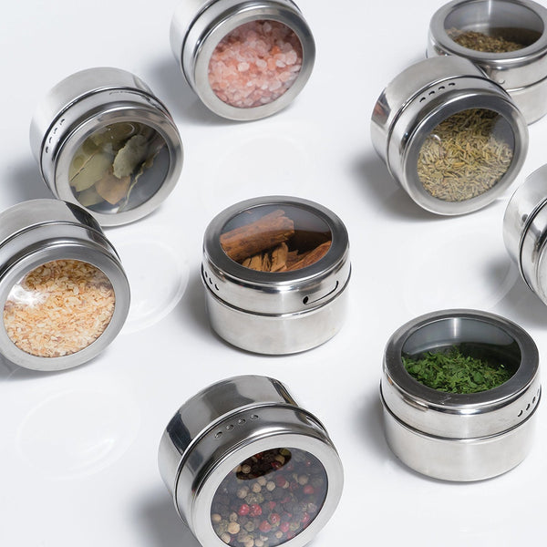 Nellam Stainless Steel Magnetic Spice Jars - Bonus Measuring Spoon Set - Airtight Kitchen Storage Containers - Stack on Fridge to Save Counter & Cupboard Space - 24pc Organizers