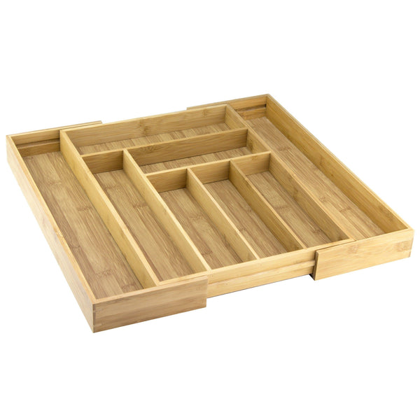 Organize with totally bamboo expandable drawer organizer 8 compartments for cutlery utensils and more