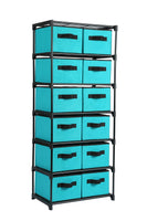 Online shopping homebi storage chest shelf unit 12 drawer storage cabinet with 6 tier metal wire shelf and 12 removable non woven fabric bins in turquoise 20 67w x 12d x49 21h