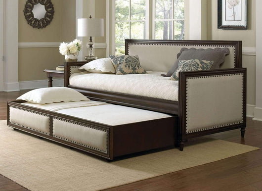 Shop here leggett platt grandover wood daybed with cream upholstered panels and roll out trundle drawer espresso finish twin