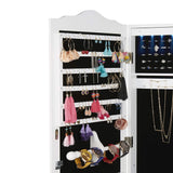 Best seller  mind reader hmled14 wht hanging cabinet 14 led lights wall mounted jewelry armoire organizer with mirror 2 drawers necklaces rings earrings bracelets white