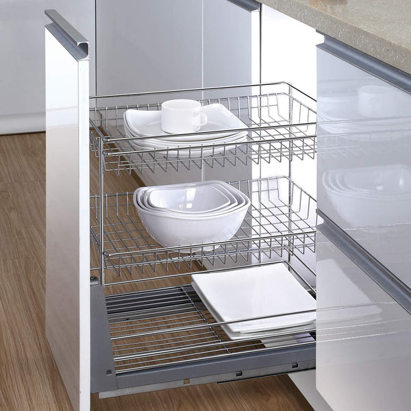 17.6 In. Length Cabinet Pull-Out Chrome Wire Basket Organizer 3-Tier Cabinet Spice Rack Shelves Bowl Pan Pots Holder Full Pullout Set