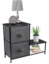 Save on sorbus 2 drawer nightstand with shelf bedside furniture accent end table chest for home bedroom accessories office college dorm steel frame wood top easy pull fabric bins black