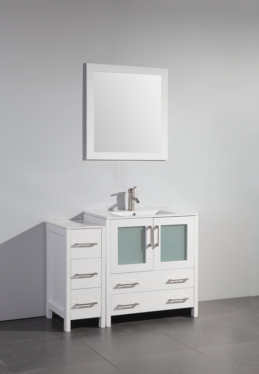 New vanity art 42 inch single sink bathroom vanity set free mirror compact 2 door 5 drawer with white ceramic top perfect bathroom organizer white