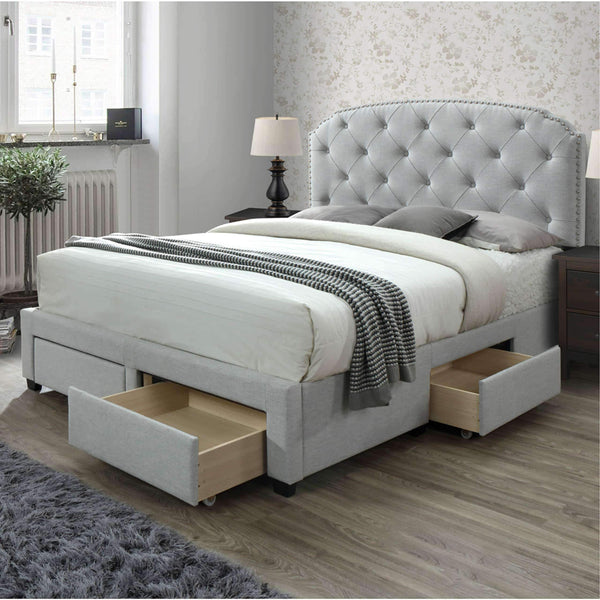 Save dg casa 12350 k plt argo tufted upholstered panel bed frame with storage drawers and nailhead trim headboard king size in platinum linen style fabric